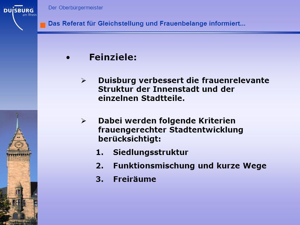l Der Oberbürgermeister Das Referat für Gleichstellung und Frauenbelange informiert... Feinziele: Duisburg verbessert die frauenrelevante Struktur der