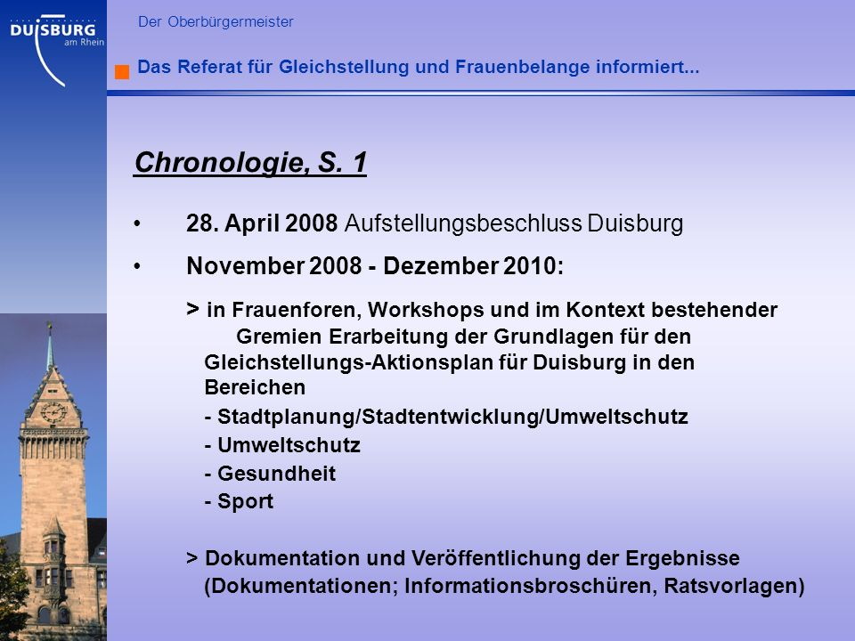 l Der Oberbürgermeister Das Referat für Gleichstellung und Frauenbelange informiert... Chronologie, S. 1 28. April 2008 Aufstellungsbeschluss Duisburg