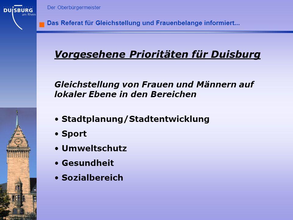 l Der Oberbürgermeister Das Referat für Gleichstellung und Frauenbelange informiert... Vorgesehene Prioritäten für Duisburg Gleichstellung von Frauen