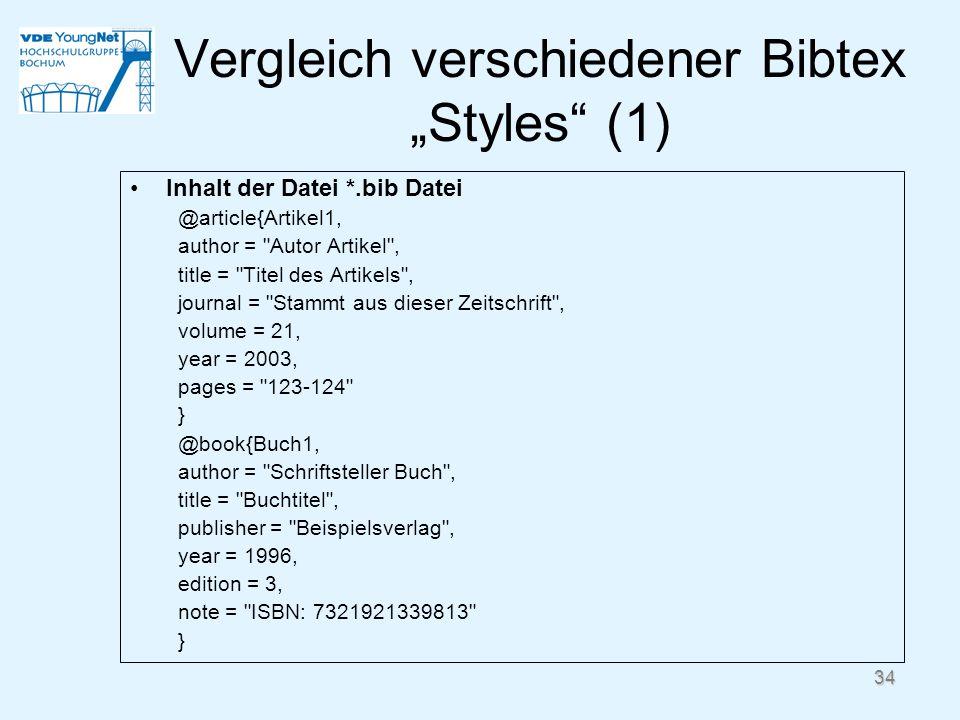 Vergleich verschiedener Bibtex Styles (1) Inhalt der Datei *.bib Datei @article{Artikel1, author =