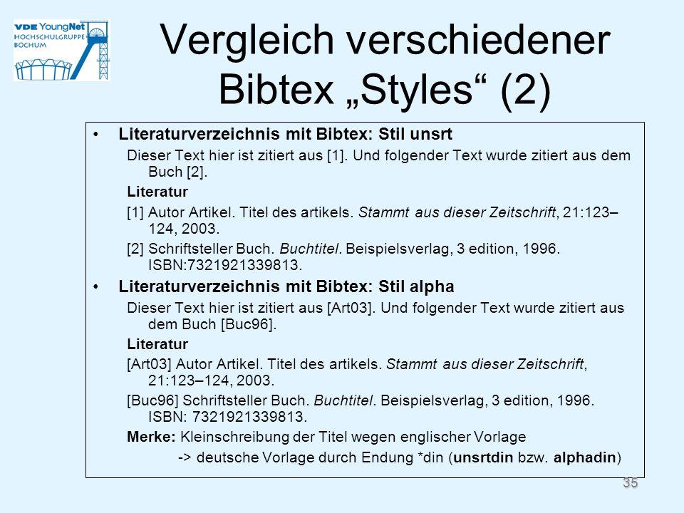 Literaturverzeichnis mit Bibtex: Stil unsrt Dieser Text hier ist zitiert aus [1]. Und folgender Text wurde zitiert aus dem Buch [2]. Literatur [1] Aut