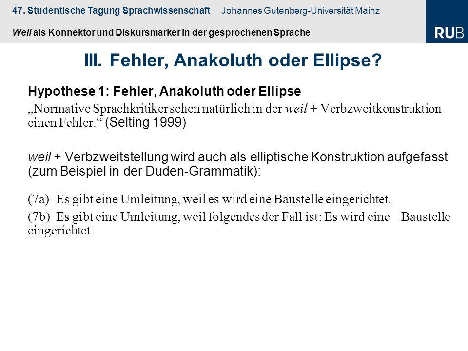 47. Studentische Tagung Sprachwissenschaft Johannes Gutenberg-Universität Mainz Weil als Konnektor und Diskursmarker in der gesprochenen Sprache Hypot