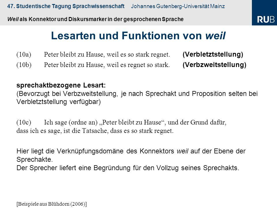 47. Studentische Tagung Sprachwissenschaft Johannes Gutenberg-Universität Mainz Weil als Konnektor und Diskursmarker in der gesprochenen Sprache (10a)