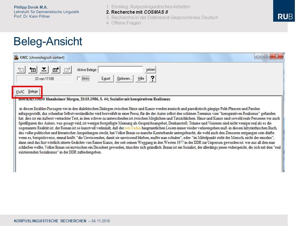 Beleg-Ansicht Philipp Dorok M.A.Lehrstuhl für Germanistische Linguistik Prof.