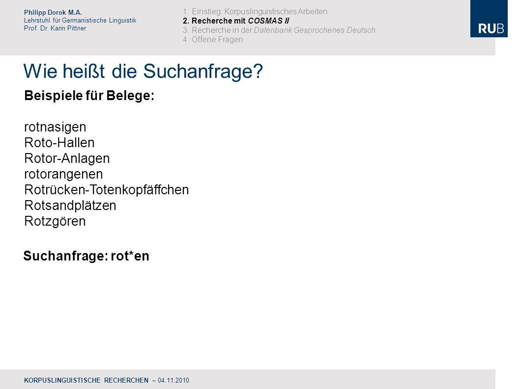Wie heißt die Suchanfrage.Philipp Dorok M.A. Lehrstuhl für Germanistische Linguistik Prof.