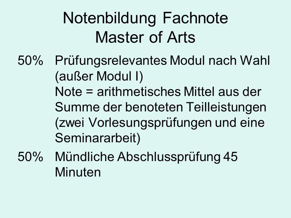 Notenbildung Fachnote Master of Arts 50%Prüfungsrelevantes Modul nach Wahl (außer Modul I) Note = arithmetisches Mittel aus der Summe der benoteten Te