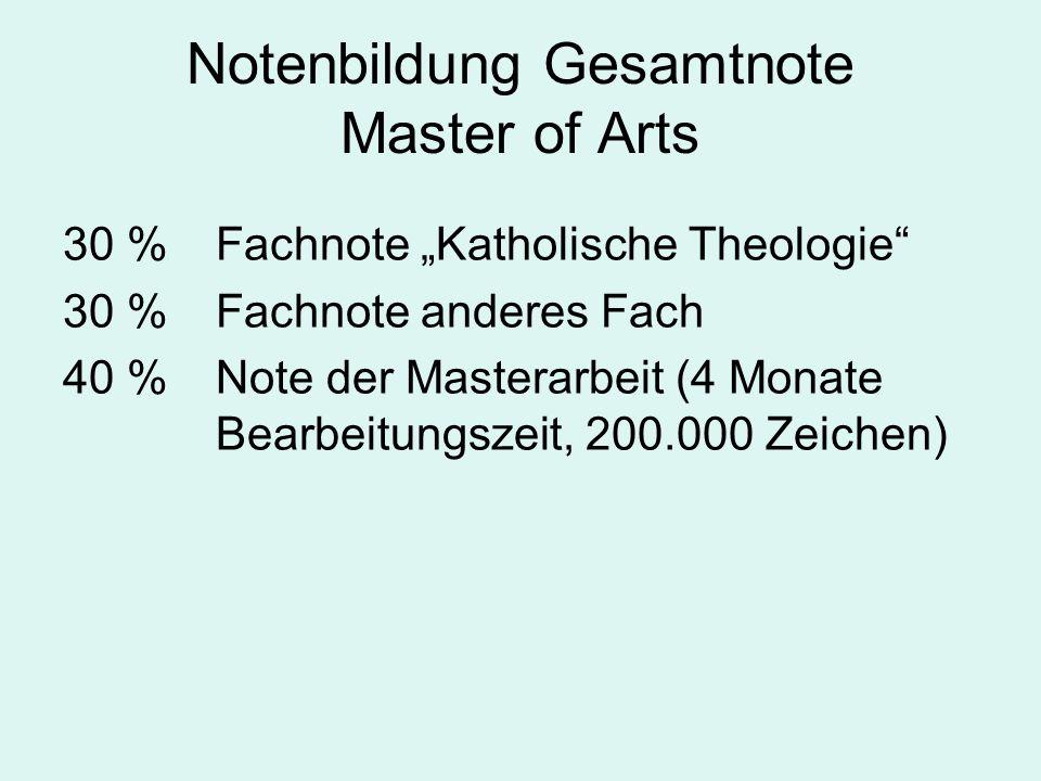 Notenbildung Gesamtnote Master of Arts 30 % Fachnote Katholische Theologie 30 % Fachnote anderes Fach 40 % Note der Masterarbeit (4 Monate Bearbeitung