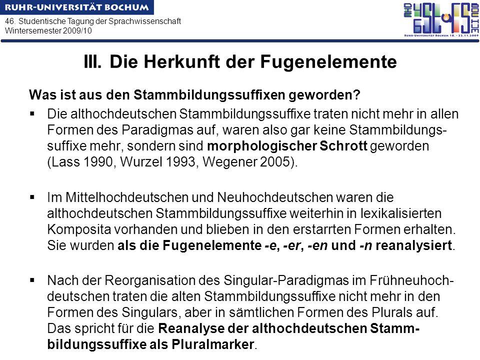 46. Studentische Tagung der Sprachwissenschaft Wintersemester 2009/10 III. Die Herkunft der Fugenelemente Was ist aus den Stammbildungssuffixen geword
