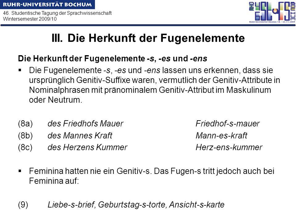 46. Studentische Tagung der Sprachwissenschaft Wintersemester 2009/10 III. Die Herkunft der Fugenelemente Die Herkunft der Fugenelemente -s, -es und -