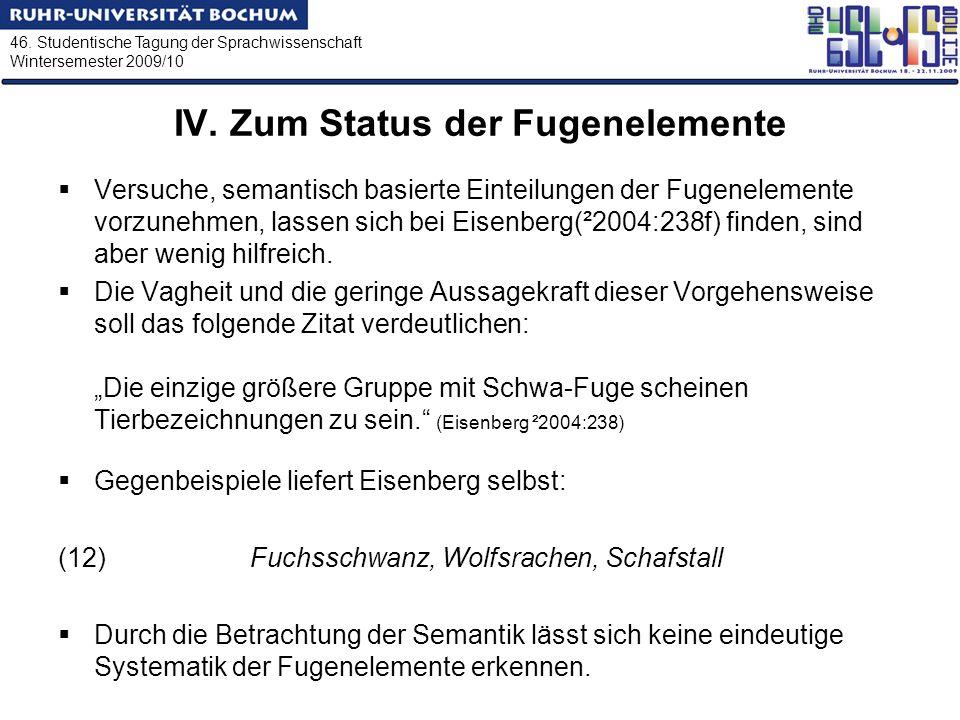 46. Studentische Tagung der Sprachwissenschaft Wintersemester 2009/10 IV. Zum Status der Fugenelemente Versuche, semantisch basierte Einteilungen der