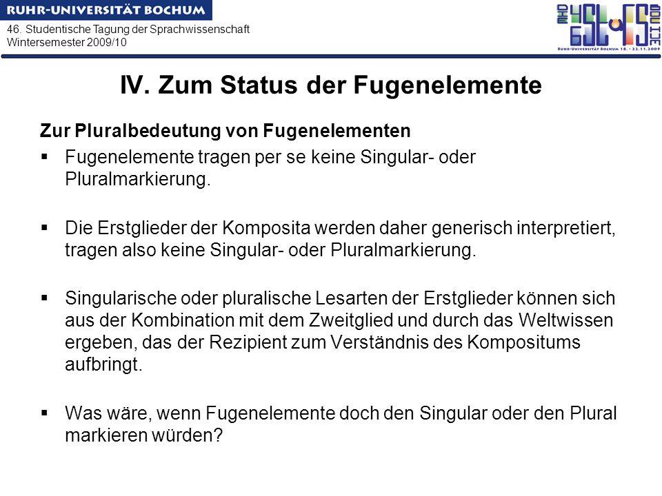 46. Studentische Tagung der Sprachwissenschaft Wintersemester 2009/10 IV. Zum Status der Fugenelemente Zur Pluralbedeutung von Fugenelementen Fugenele