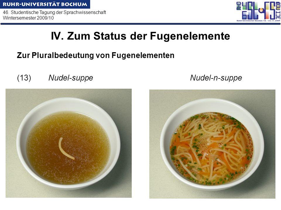 46. Studentische Tagung der Sprachwissenschaft Wintersemester 2009/10 IV. Zum Status der Fugenelemente Zur Pluralbedeutung von Fugenelementen (13) Nud