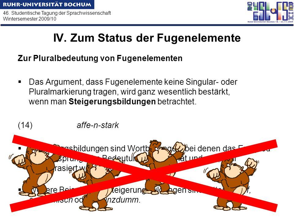 46. Studentische Tagung der Sprachwissenschaft Wintersemester 2009/10 IV. Zum Status der Fugenelemente Zur Pluralbedeutung von Fugenelementen Das Argu