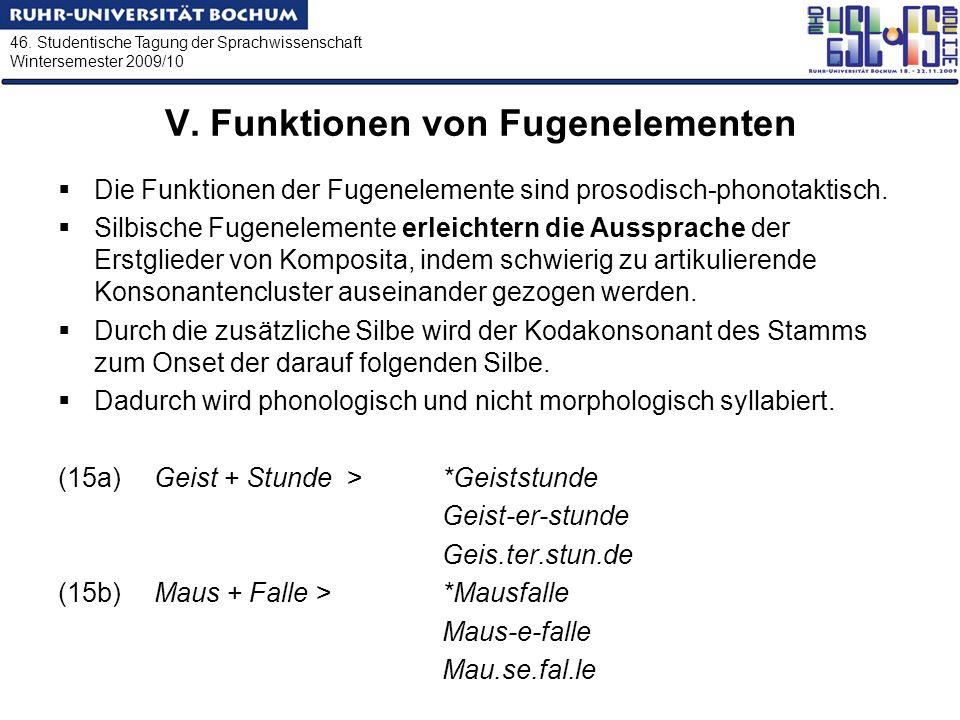 46. Studentische Tagung der Sprachwissenschaft Wintersemester 2009/10 V. Funktionen von Fugenelementen Die Funktionen der Fugenelemente sind prosodisc