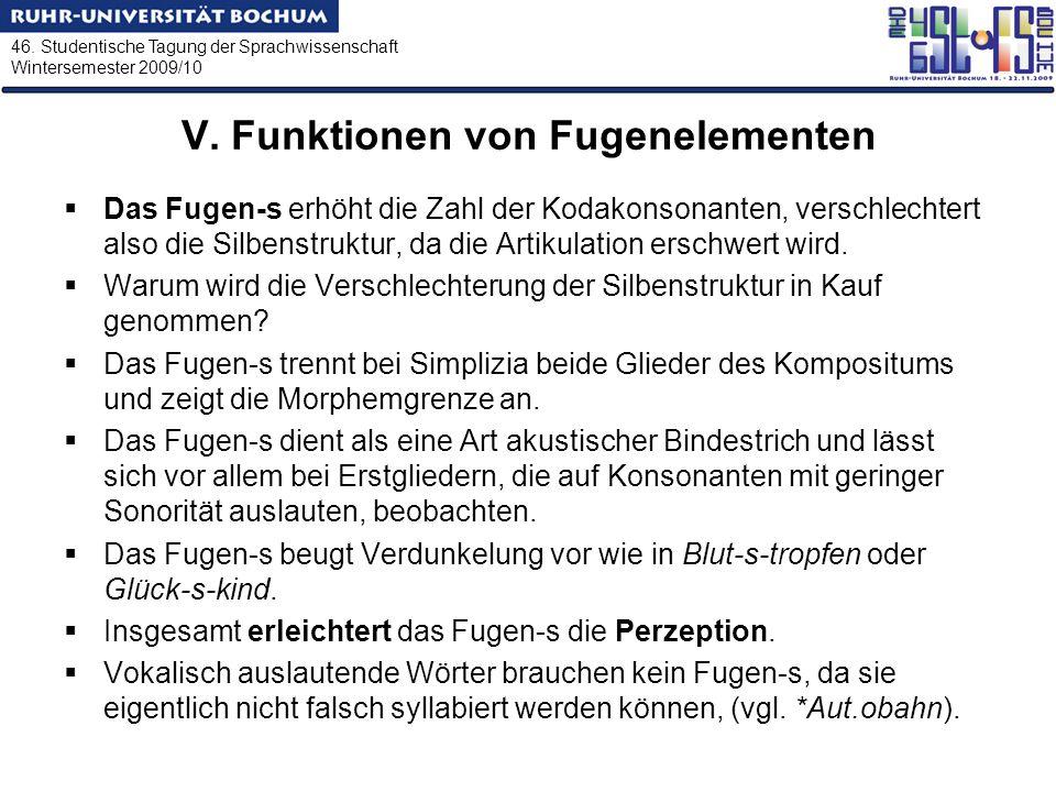 46. Studentische Tagung der Sprachwissenschaft Wintersemester 2009/10 V. Funktionen von Fugenelementen Das Fugen-s erhöht die Zahl der Kodakonsonanten