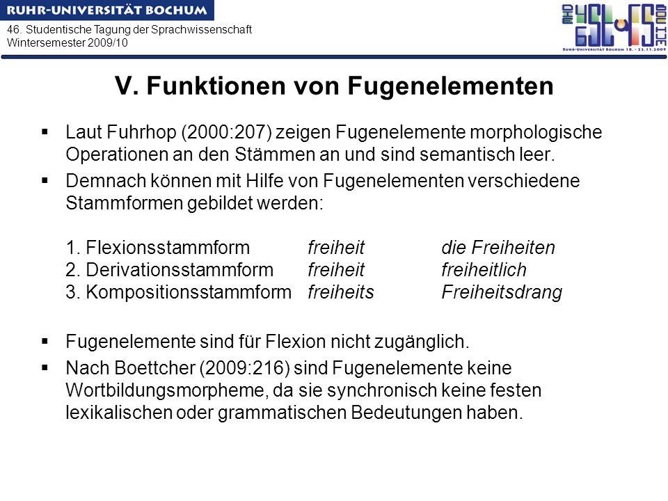 46. Studentische Tagung der Sprachwissenschaft Wintersemester 2009/10 V. Funktionen von Fugenelementen Laut Fuhrhop (2000:207) zeigen Fugenelemente mo