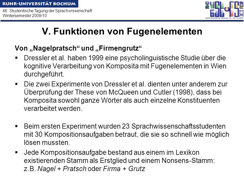 46. Studentische Tagung der Sprachwissenschaft Wintersemester 2009/10 V. Funktionen von Fugenelementen Von Nagelpratsch und Firmengrutz Dressler et al