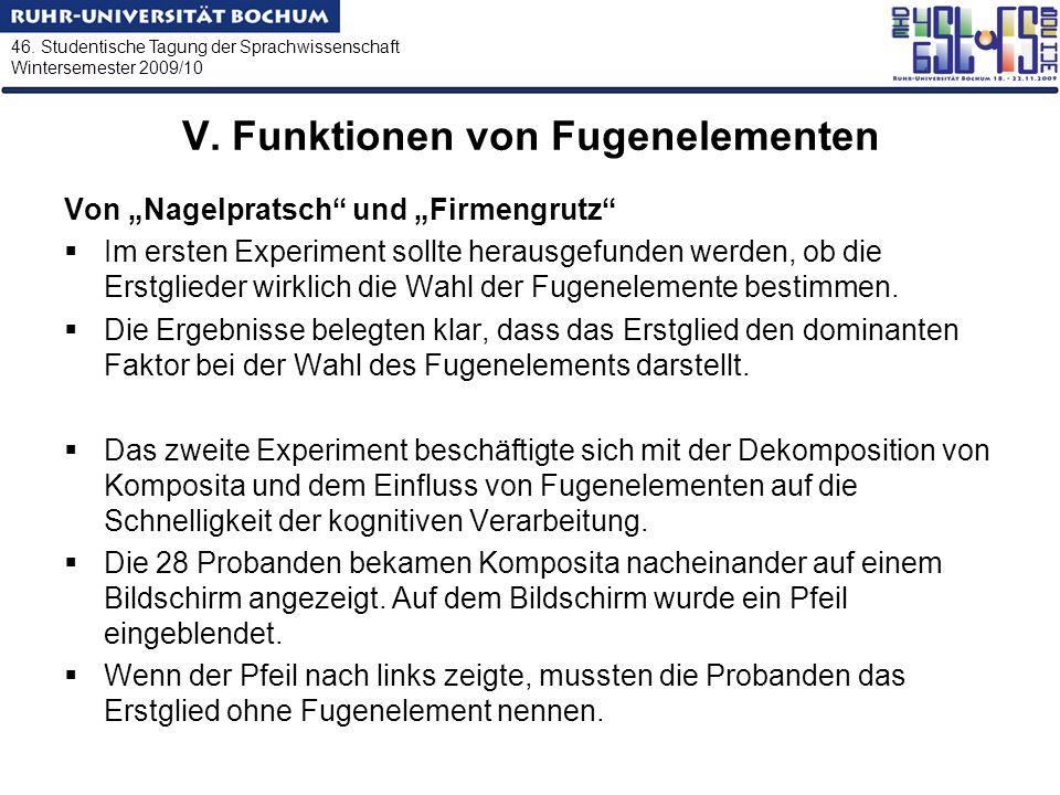 46. Studentische Tagung der Sprachwissenschaft Wintersemester 2009/10 V. Funktionen von Fugenelementen Von Nagelpratsch und Firmengrutz Im ersten Expe