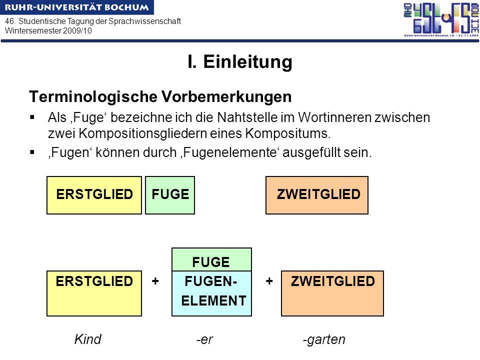 46. Studentische Tagung der Sprachwissenschaft Wintersemester 2009/10 I. Einleitung Terminologische Vorbemerkungen Als Fuge bezeichne ich die Nahtstel