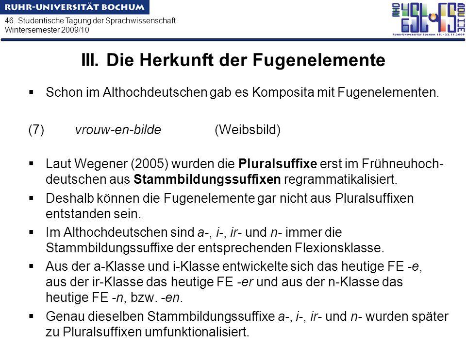 46. Studentische Tagung der Sprachwissenschaft Wintersemester 2009/10 III. Die Herkunft der Fugenelemente Schon im Althochdeutschen gab es Komposita m