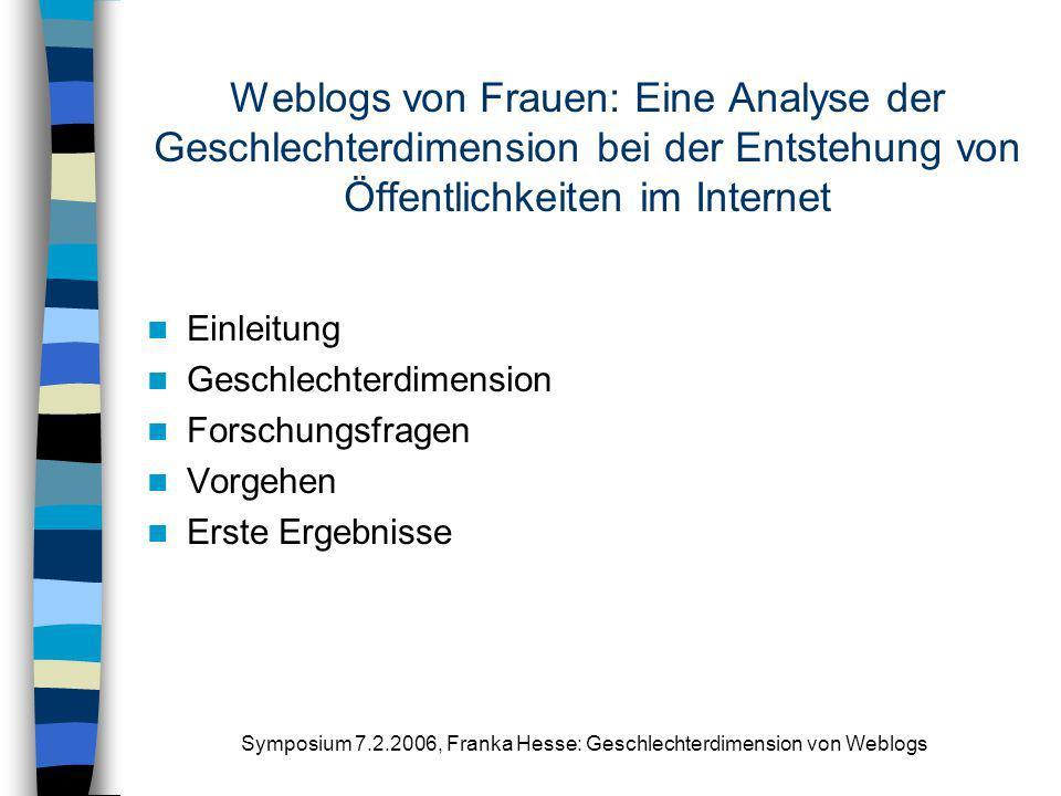 Symposium 7.2.2006, Franka Hesse: Geschlechterdimension von Weblogs Weblogs von Frauen: Eine Analyse der Geschlechterdimension bei der Entstehung von