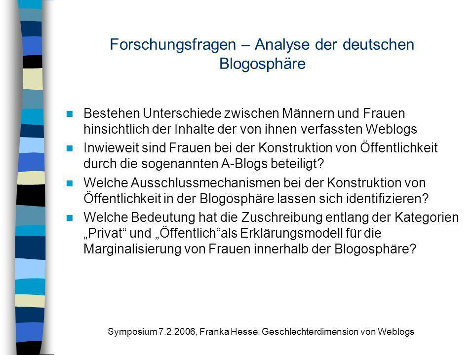 Symposium 7.2.2006, Franka Hesse: Geschlechterdimension von Weblogs Forschungsfragen – Analyse der deutschen Blogosphäre Bestehen Unterschiede zwische