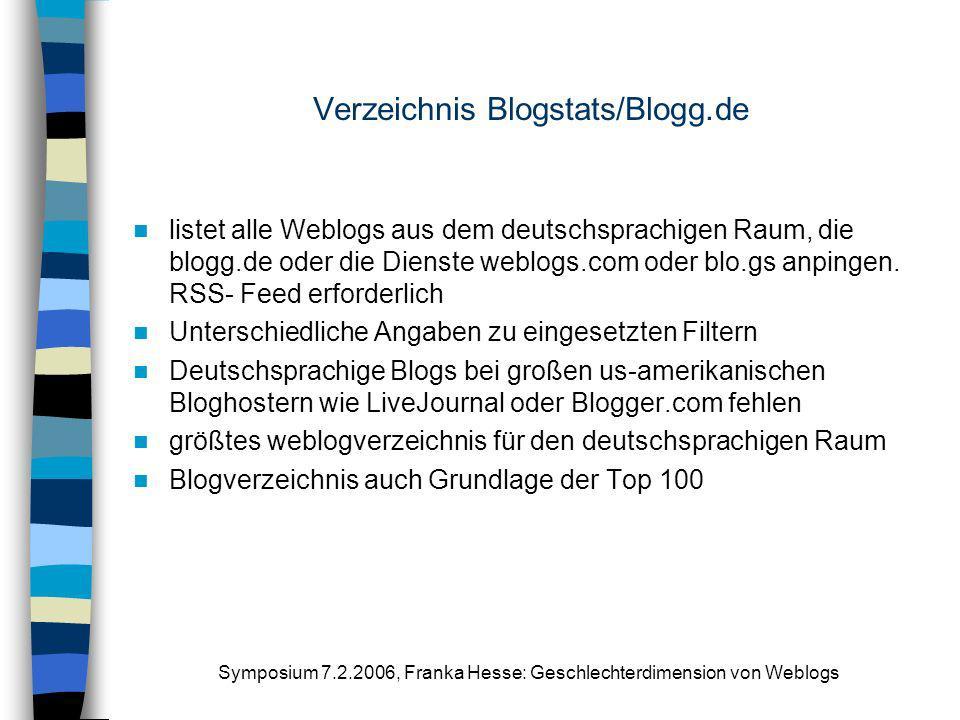 Symposium 7.2.2006, Franka Hesse: Geschlechterdimension von Weblogs Verzeichnis Blogstats/Blogg.de listet alle Weblogs aus dem deutschsprachigen Raum,