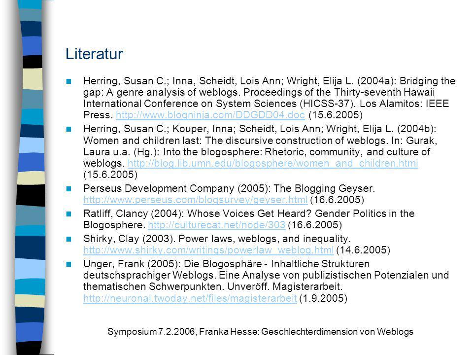 Symposium 7.2.2006, Franka Hesse: Geschlechterdimension von Weblogs Literatur Herring, Susan C.; Inna, Scheidt, Lois Ann; Wright, Elija L. (2004a): Br