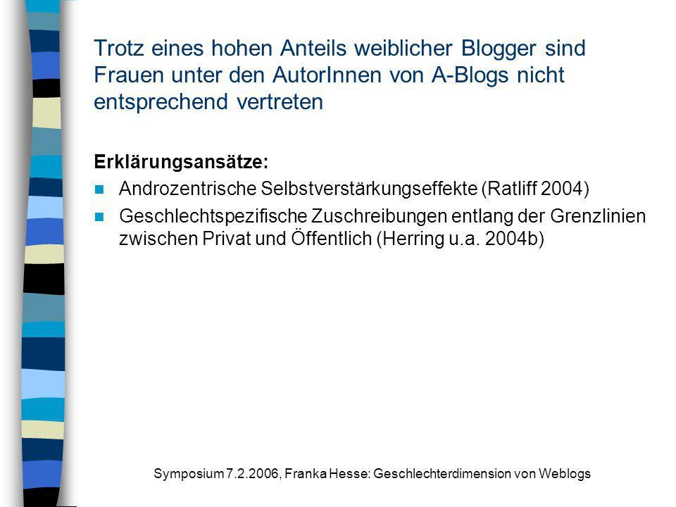 Symposium 7.2.2006, Franka Hesse: Geschlechterdimension von Weblogs Trotz eines hohen Anteils weiblicher Blogger sind Frauen unter den AutorInnen von