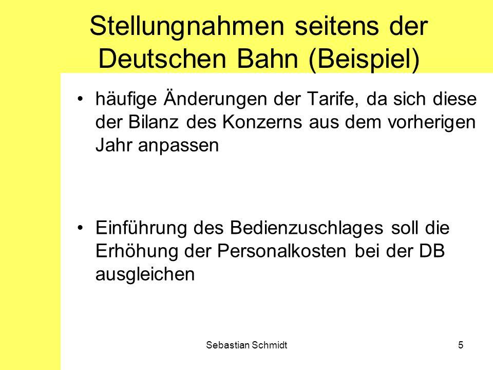 Sebastian Schmidt6 Fazit die Einholung der Meinungen, sowohl vom Konzern als auch von den Bahnkunden erfolgte über Foren, sowie durch Anrufe bei der Deutschen Bahn oftmals subjektive Betrachtungsweisen (vorhegendes Beispiel), die im Laufe der Arbeit durch Analyse von Bilanzen und anderen Sachverhalten geprüft werden