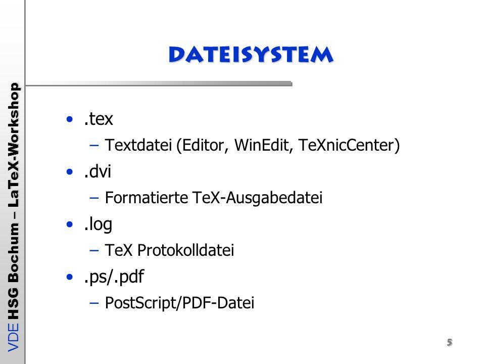VDE HSG Bochum – LaTeX-Workshop 16 Aufbau von Listen: Description-Umgebung Description-Umgebung –erzeugt einfache Liste \begin{description} \item Dies ist die erste Aufzählung \item Dies ist die zweite Aufzählung \begin{description} \item Eine Untergruppe kann ebenfalls erzeugt werden \item Zweite Unteraufzählung \end{description}