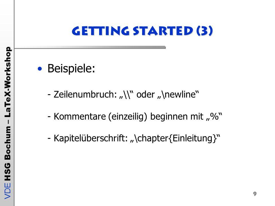 VDE HSG Bochum – LaTeX-Workshop 10 Aufbau eines Dokuments (1) 1.Quelldatei (leere Textdatei.tex) erzeugen 2.Vorspann (Dokumenteneinstellungen) Hier: Vorlage report_workshop.tex öffnen: \documentclass[a4paper,12pt]{report} \usepackage[T1]{fontenc} \usepackage[latin1]{inputenc} \usepackage{ngerman} \usepackage{epsfig}