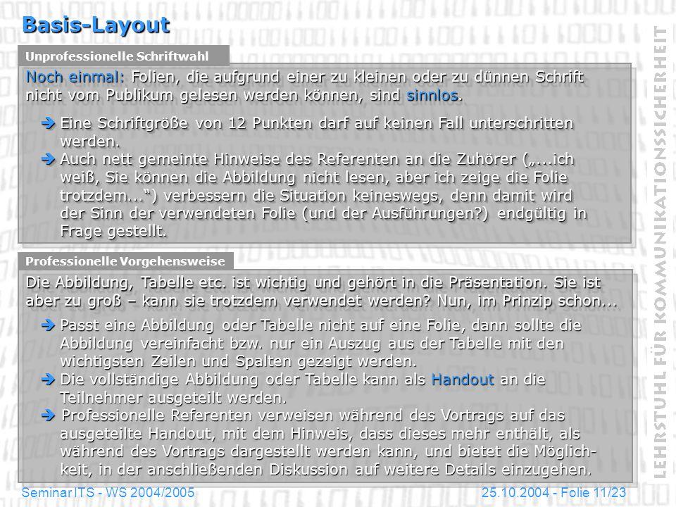 25.10.2004 - Folie 11/23Seminar ITS - WS 2004/2005 Basis-Layout Unprofessionelle Schriftwahl Noch einmal: Folien, die aufgrund einer zu kleinen oder z