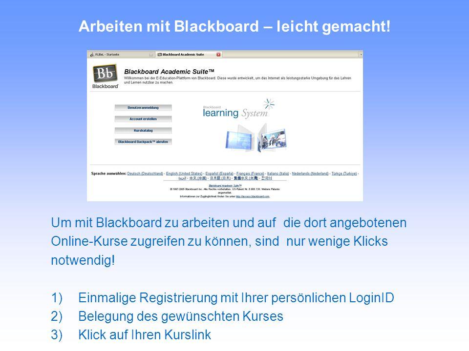 Arbeiten mit Blackboard – leicht gemacht.