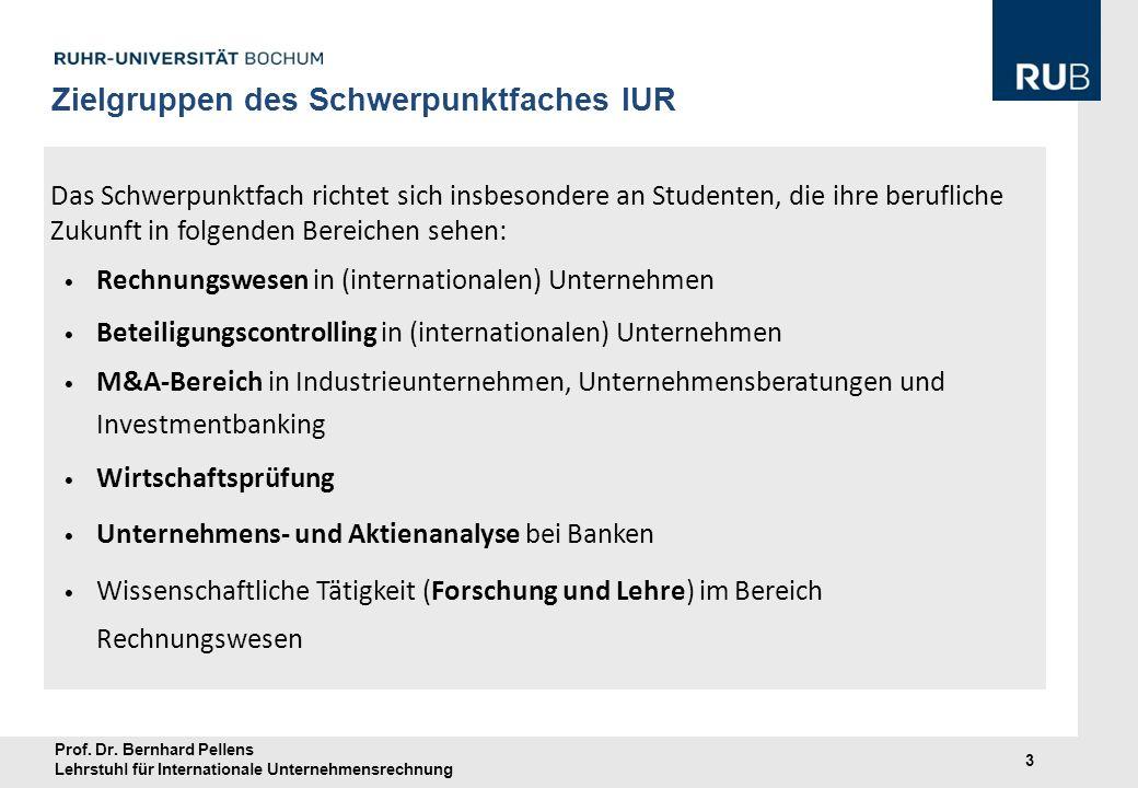 Prof. Dr. Bernhard Pellens Lehrstuhl für Internationale Unternehmensrechnung 3 Das Schwerpunktfach richtet sich insbesondere an Studenten, die ihre be