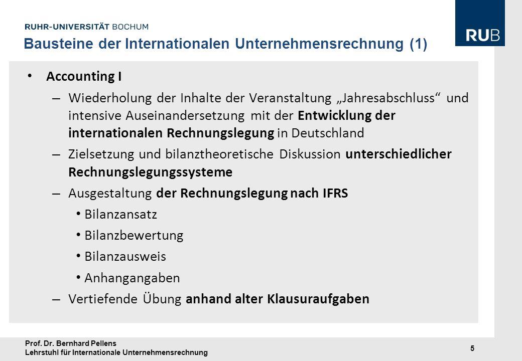 Prof. Dr. Bernhard Pellens Lehrstuhl für Internationale Unternehmensrechnung 5 Bausteine der Internationalen Unternehmensrechnung (1) Accounting I – W