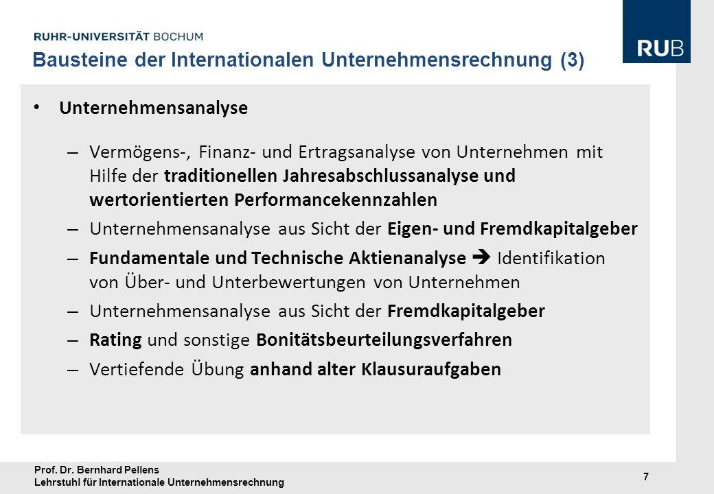 Prof. Dr. Bernhard Pellens Lehrstuhl für Internationale Unternehmensrechnung 7 Unternehmensanalyse – Vermögens-, Finanz- und Ertragsanalyse von Untern