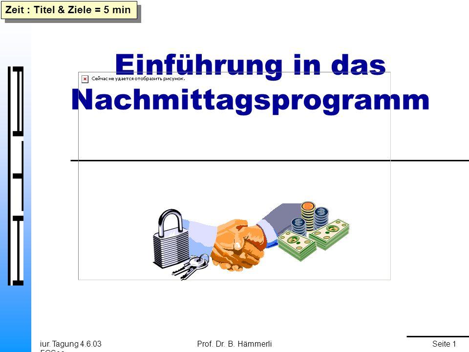 iur. Tagung 4.6.03 FGSec Prof. Dr. B. HämmerliSeite 1 Einführung in das Nachmittagsprogramm Zeit : Titel & Ziele = 5 min