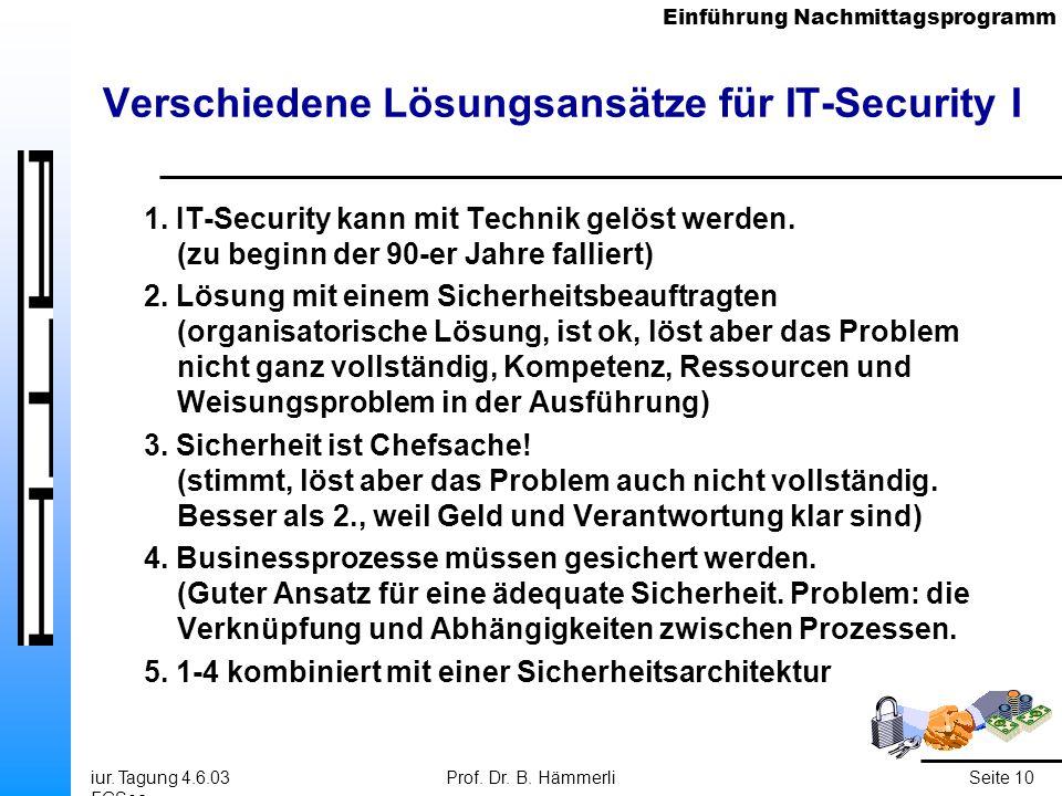 Einführung Nachmittagsprogramm iur. Tagung 4.6.03 FGSec Prof. Dr. B. HämmerliSeite 10 Verschiedene Lösungsansätze für IT-Security I 1. IT-Security kan