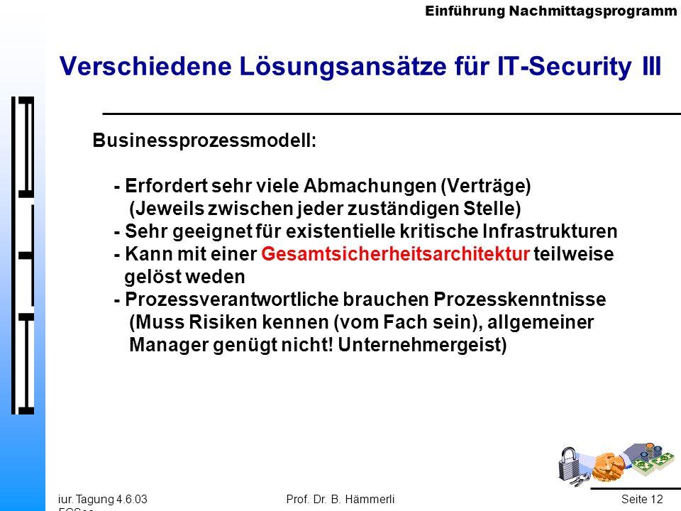 Einführung Nachmittagsprogramm iur. Tagung 4.6.03 FGSec Prof. Dr. B. HämmerliSeite 12 Verschiedene Lösungsansätze für IT-Security III Businessprozessm