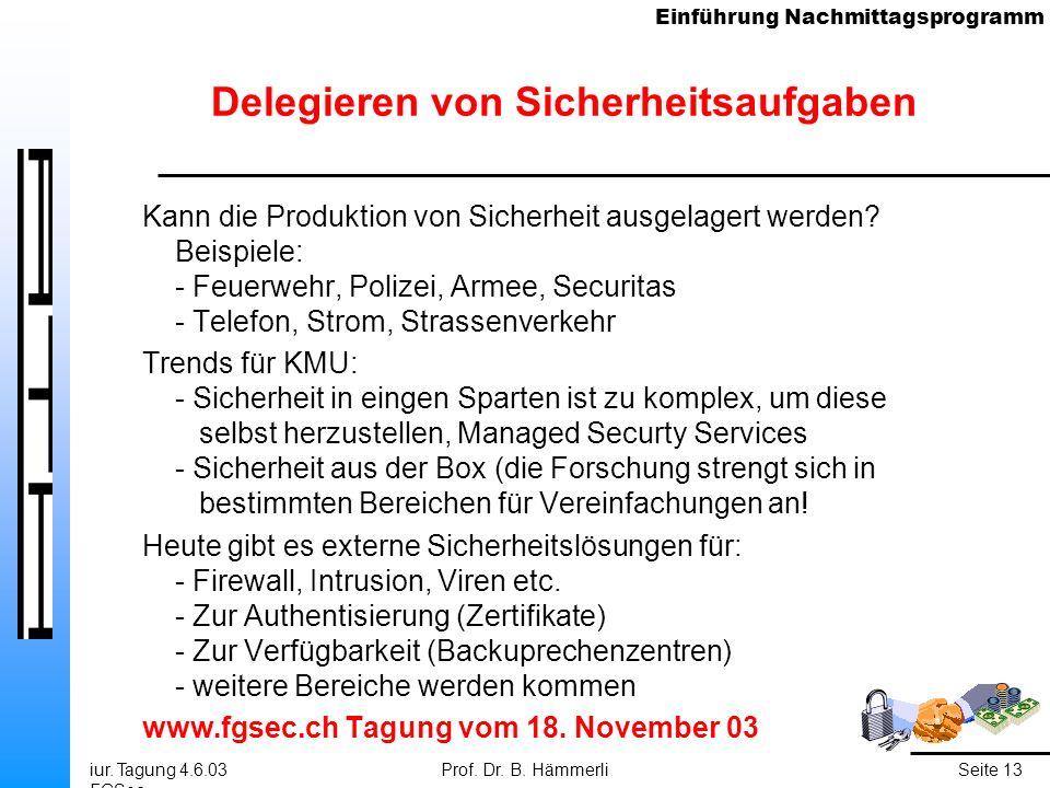 Einführung Nachmittagsprogramm iur. Tagung 4.6.03 FGSec Prof. Dr. B. HämmerliSeite 13 Delegieren von Sicherheitsaufgaben Kann die Produktion von Siche