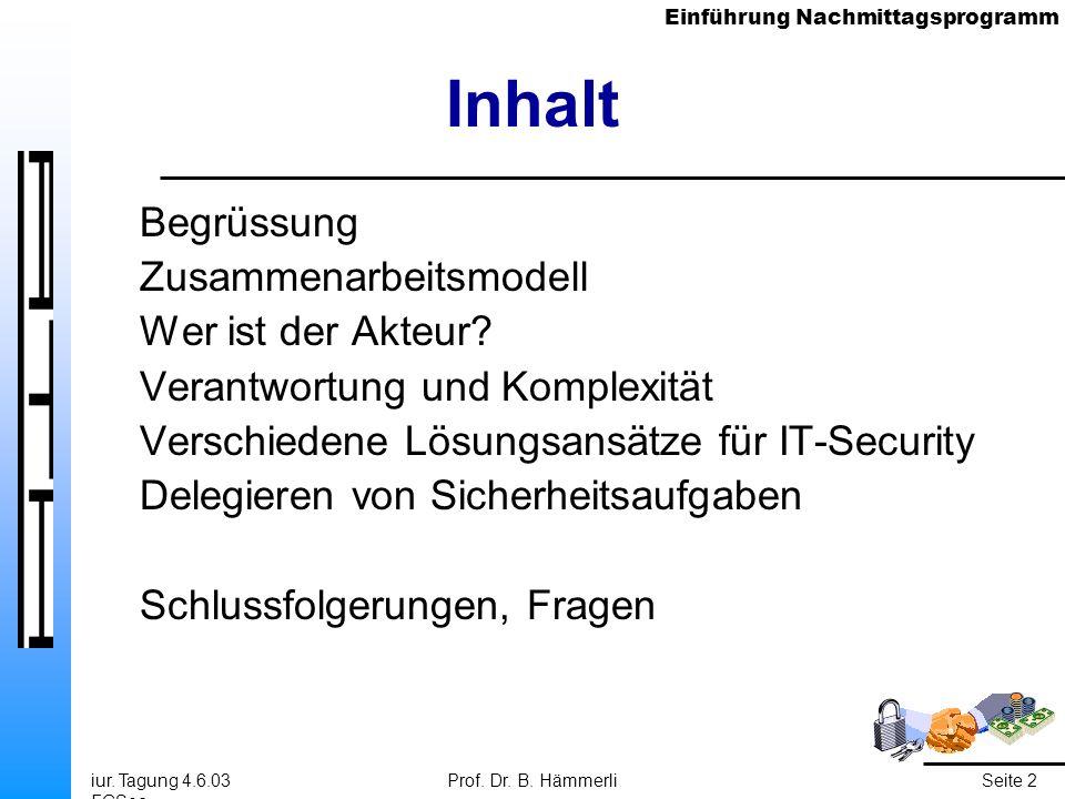 Einführung Nachmittagsprogramm iur. Tagung 4.6.03 FGSec Prof. Dr. B. HämmerliSeite 2 Inhalt Begrüssung Zusammenarbeitsmodell Wer ist der Akteur? Veran