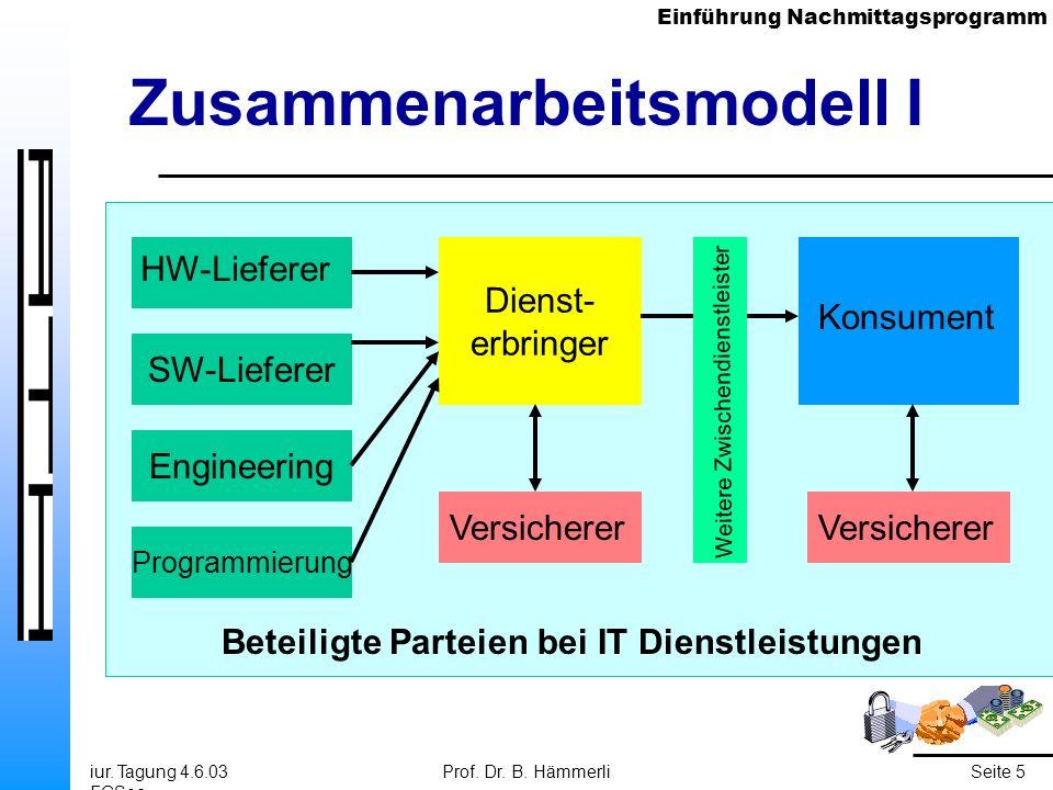Einführung Nachmittagsprogramm iur. Tagung 4.6.03 FGSec Prof. Dr. B. HämmerliSeite 5 SW-Lieferer Engineering Zusammenarbeitsmodell I HW-Lieferer Progr