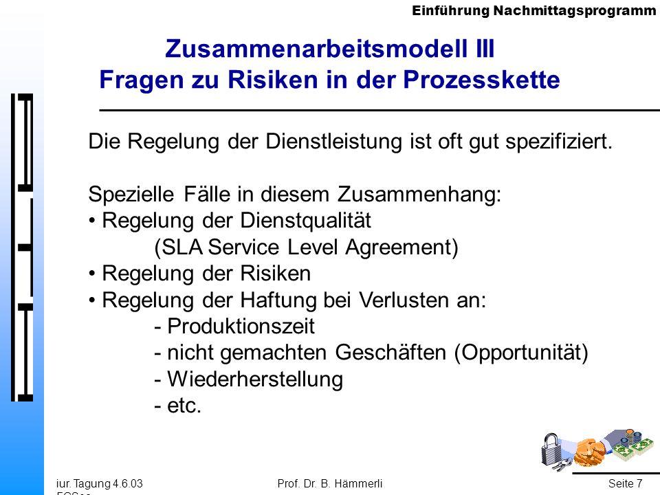 Einführung Nachmittagsprogramm iur. Tagung 4.6.03 FGSec Prof. Dr. B. HämmerliSeite 7 Zusammenarbeitsmodell III Fragen zu Risiken in der Prozesskette D