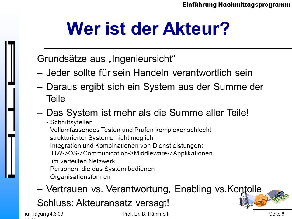 Einführung Nachmittagsprogramm iur. Tagung 4.6.03 FGSec Prof. Dr. B. HämmerliSeite 8 Wer ist der Akteur? Grundsätze aus Ingenieursicht –Jeder sollte f
