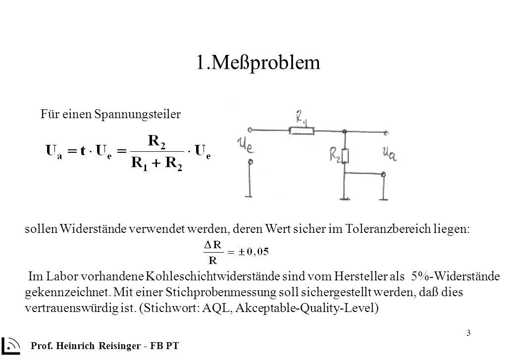 3 1.Meßproblem Für einen Spannungsteiler Prof. Heinrich Reisinger - FB PT sollen Widerstände verwendet werden, deren Wert sicher im Toleranzbereich li