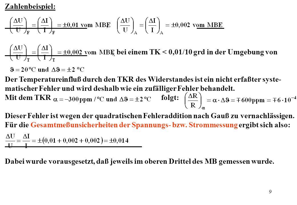 9 Zahlenbeispiel:,, bei einem TK < 0,01/10 grd in der Umgebung von Der Temperatureinfluß durch den TKR des Widerstandes ist ein nicht erfaßter syste-