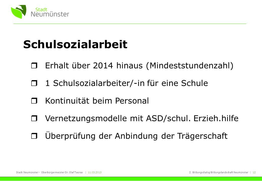 Stadt Neumünster - Oberbürgermeister Dr. Olaf Tauras | 11.03.20132. Bildungsdialog Bildungslandschaft Neumünster | 12 Schulsozialarbeit Erhalt über 20