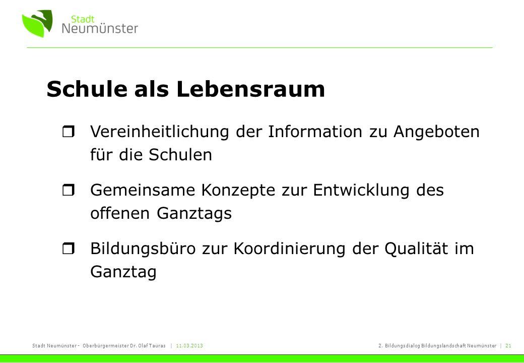 Stadt Neumünster - Oberbürgermeister Dr. Olaf Tauras | 11.03.20132. Bildungsdialog Bildungslandschaft Neumünster | 21 Schule als Lebensraum Vereinheit