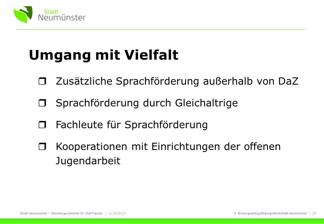 Stadt Neumünster - Oberbürgermeister Dr. Olaf Tauras | 11.03.20132. Bildungsdialog Bildungslandschaft Neumünster | 22 Umgang mit Vielfalt Zusätzliche